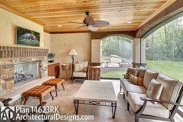 #houseplan 14623RK   Cabana with fireplace and outdoor kitchen