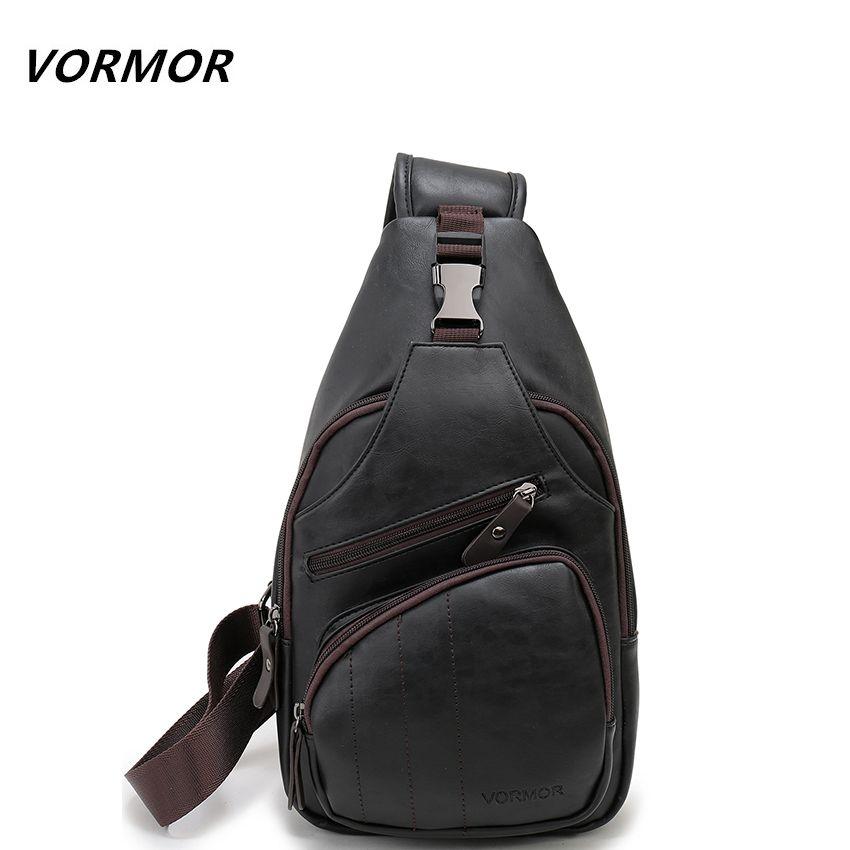 227986753 Cheap VORMOR de Gran Tamaño Para Hombre de Moda Hombro Bolsa Antirrobo  Pargo Negro de Cuero