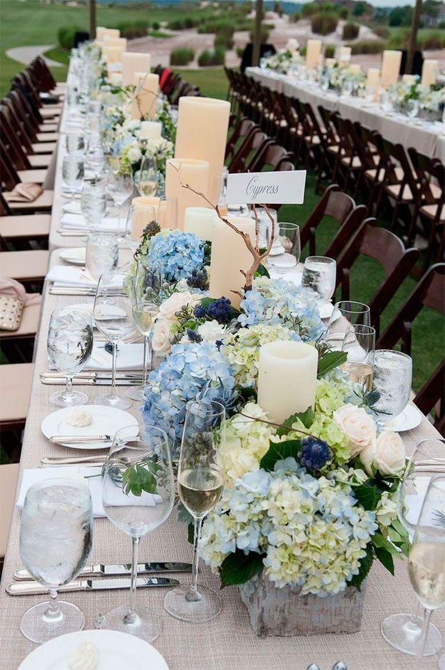 Decorar con hortensias centros de mesa bautizo y hortensias - Decoracion con hortensias ...