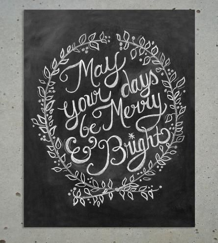 Christmas Decor Days Be Merry And Bright Chalk