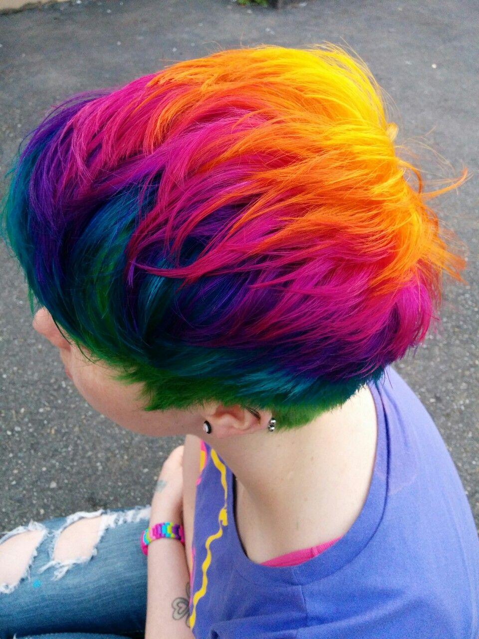 Rainbow Hair Rainbows Red Blue Green Orange Yellow Purple Pink Short Rainbow Hair Hair Styles Bright Hair