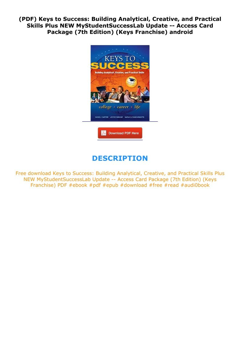 Pdf Keys To Success Building Analytical Creative And Practical Skills Plus New Mystudentsuccesslab Update Access Card Pa Key To Success Skills Success
