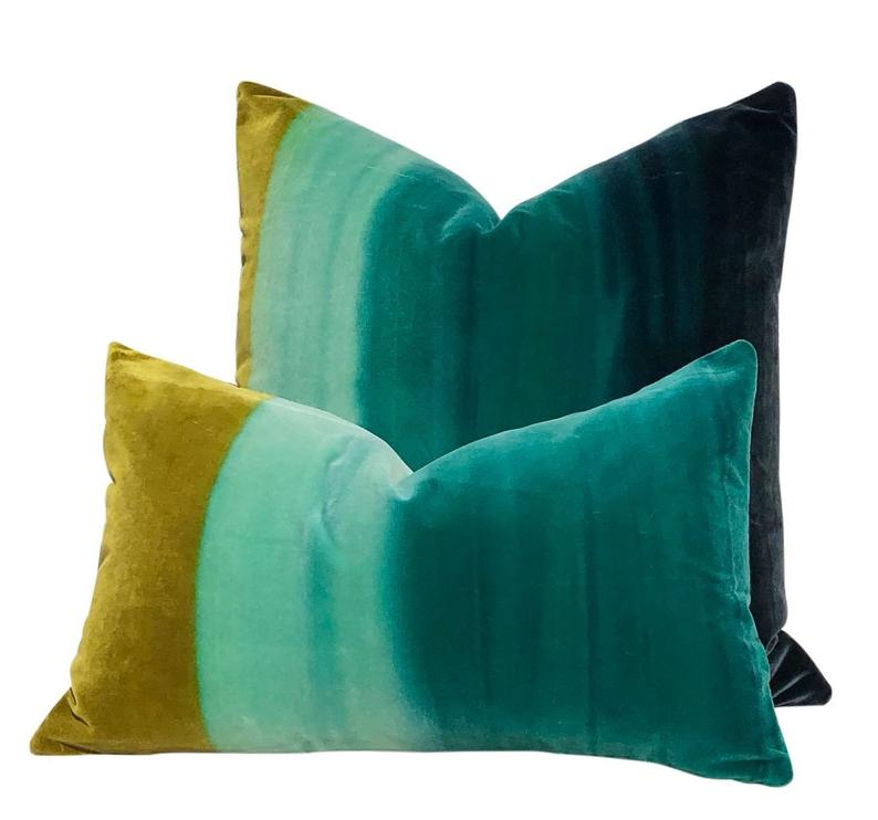 Ombre Velvet Pillow In Zest Lagoon Indigo Lumbar Ombre Velvet Pillow In 2020 Velvet Pillows Pillows Handmade Pillows