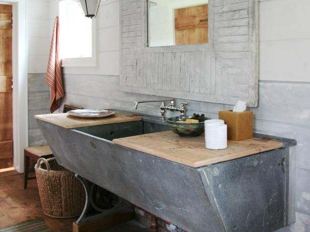 Beauteous Concrete Pedestal Sink Storage Ideas With Hard Wooden Plank Top