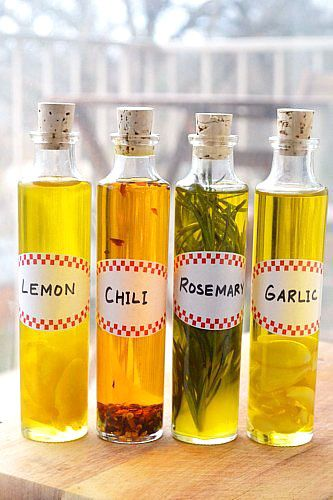 Homemade Flavored Oils :: i've made the rosemary version before, the only thing is that you need to watch for mold on whatever it is you're infusing in oil.