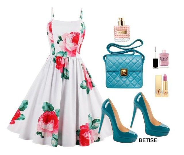 """""""FLORAL AGAIN 💜"""" by betty-sanga ❤ liked on Polyvore featuring Christian Louboutin, Chanel, Lauren B. Beauty, Yves Saint Laurent and Valentino"""