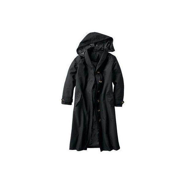 Plus Size Shawl-Collar Raincoat ($189) ❤ liked on Polyvore featuring plus size fashion, plus size clothing, plus size outerwear, plus size coats, womens plus size coats, shawl collar coat, travel coat and plus size raincoat