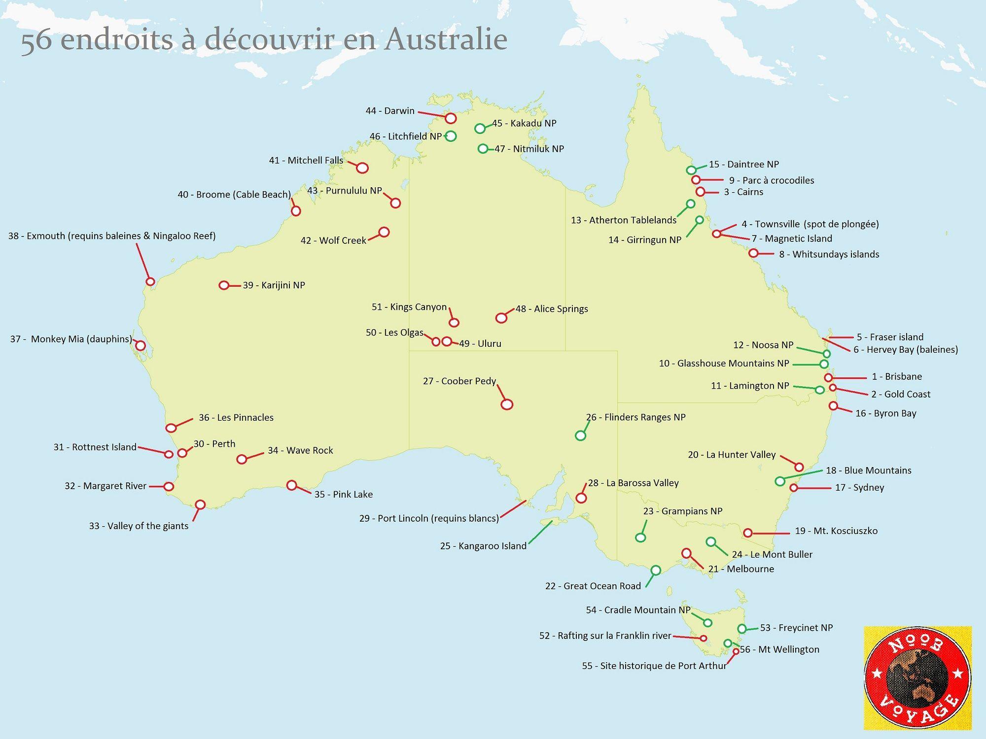 carte australie à imprimer Carte de l'Australie détaillée à imprimer: les endroits à voir