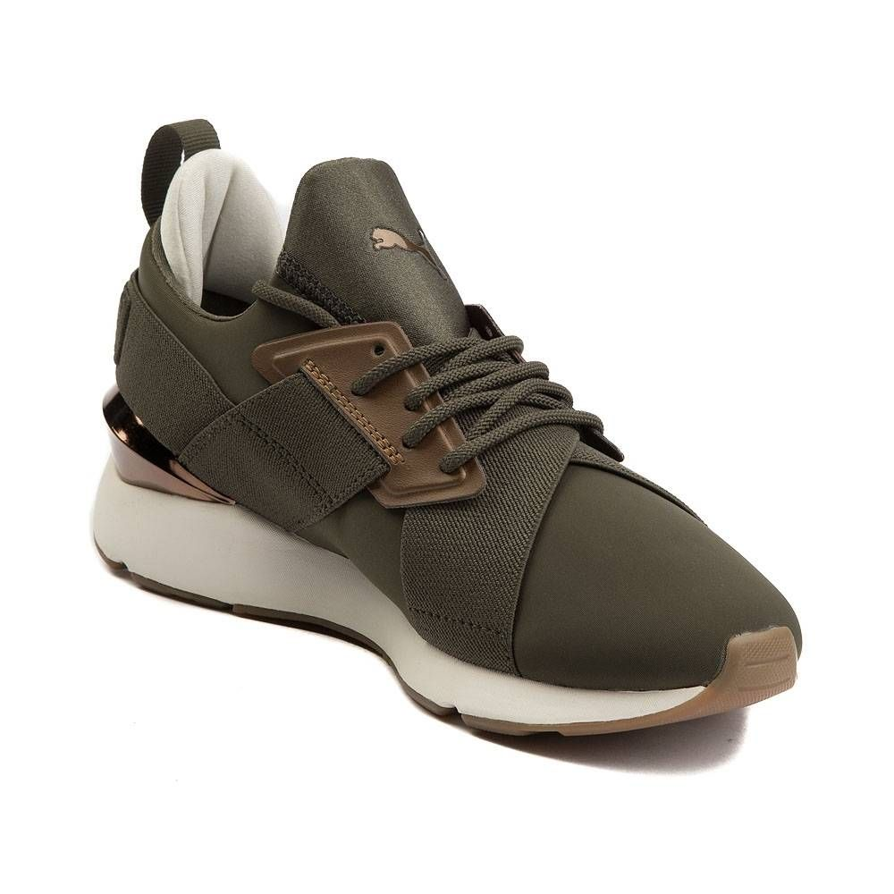 1e64a3deff73 Womens Puma Muse Metal Athletic Shoe - Olive Bronze - 361818
