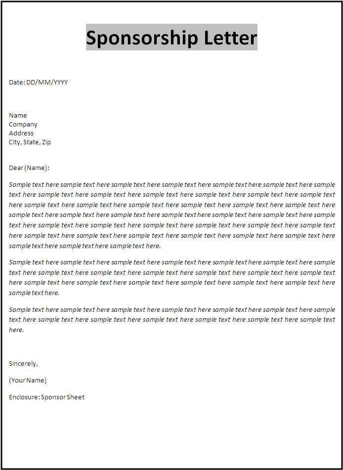 Sponsorship Letter Template Resume Templates Pinterest Letter