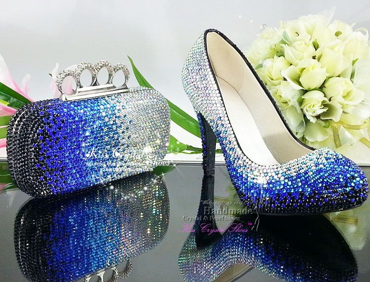 Something Blue Wedding Shoes With Blue And Silver Crystal
