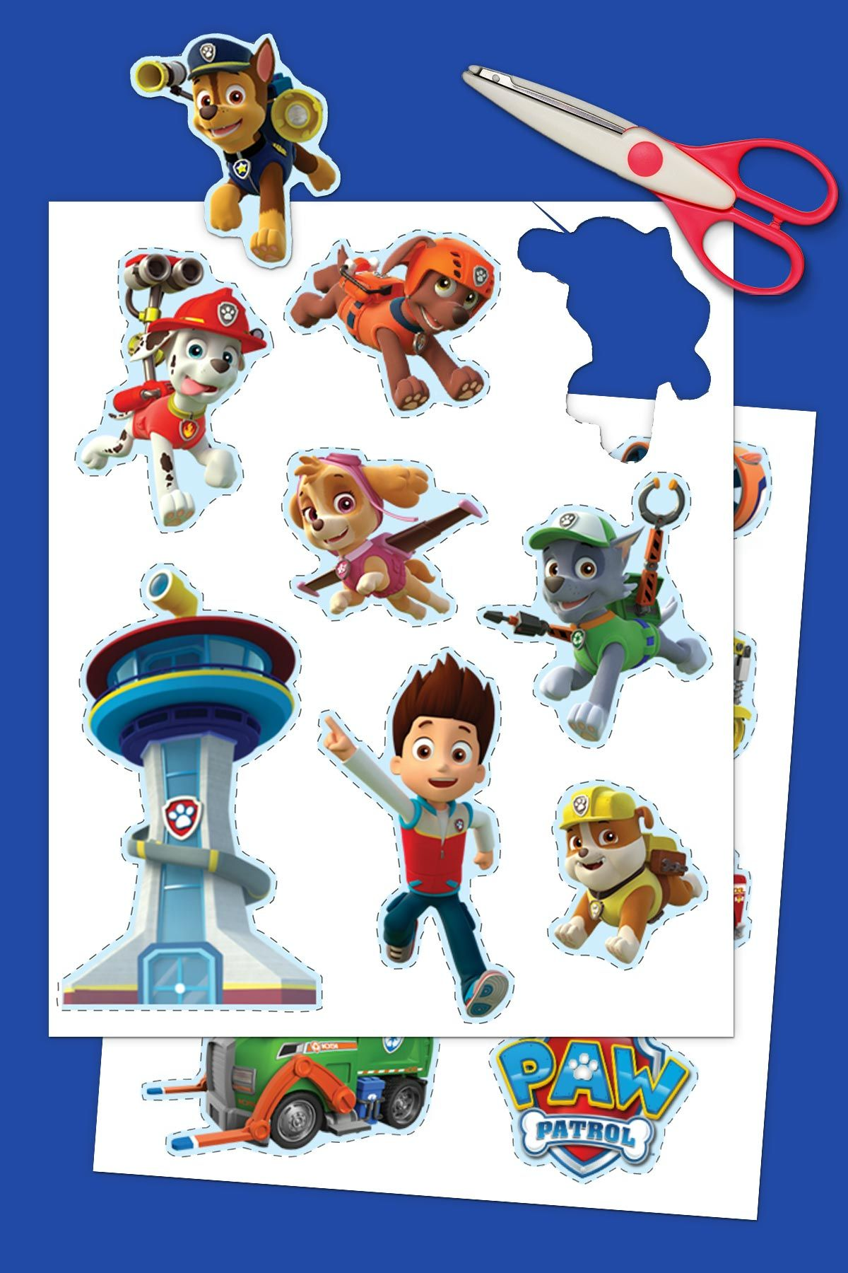 Make Your Own Paw Patrol Character : patrol, character, Patrol, Printable, Stickers, Stickers,, Printables,, Birthday