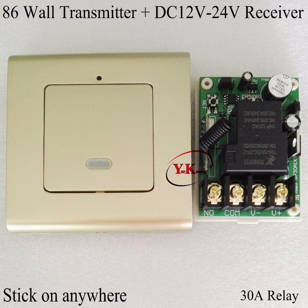 12.30$  Watch now - http://aliyxi.shopchina.info/go.php?t=32809165377 - Wall Remote Control Transmitter Champagne Gold + DC 12V 24V 30A Relay Contact Remote Switch NO COM for Big LED Water pump Motor  #buyonlinewebsite