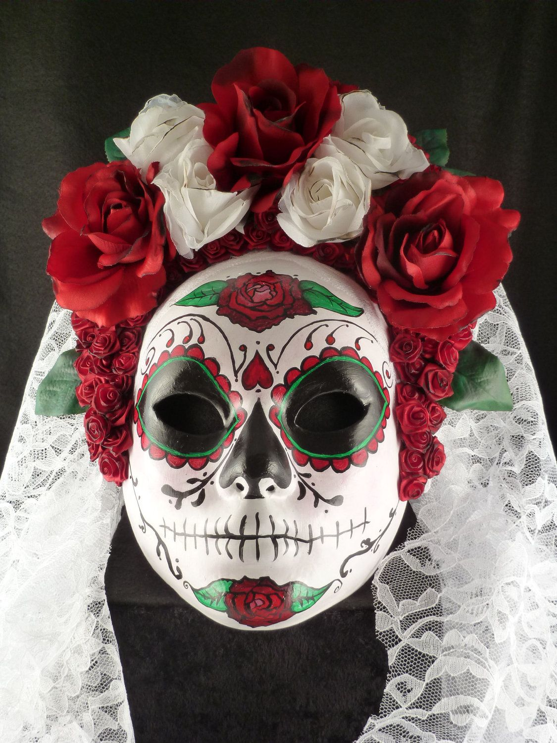 White Catrina Mask for Day of the Dead/Dia de los Muertos