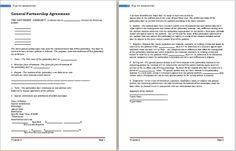 General Partnership Agreement Template At WorddoxOrg  Career
