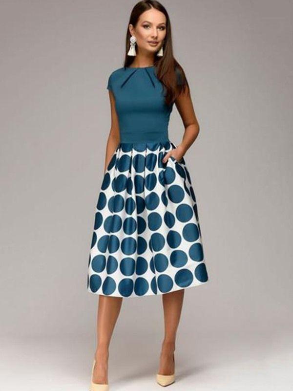 A-Linie Punkt Muster Vintage Kleid #vintagedresses