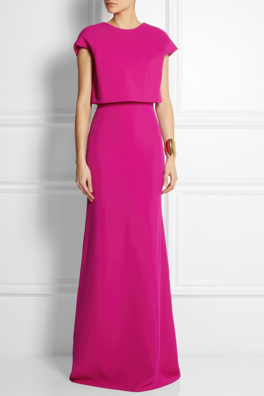 Victoria Beckham   Cropped-overlay wool and silk-blend gown   NET-A ...