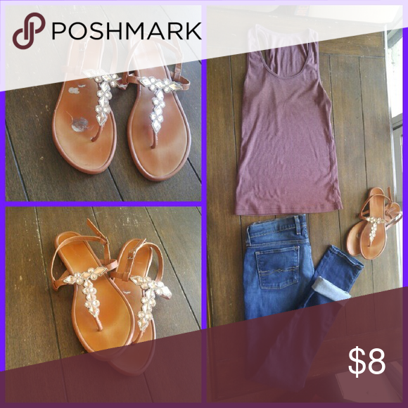 Gem sandals Beautifully made with light pink and clear gems with a cognac color leather. Worn once or twice (for a wedding and going out). Pair these with a dress or a casual outfit! Very cute and versatile with a adjustable ankle strap. I wear an 8 in shoes but these fit well in an 8.5. Dollhouse Shoes Sandals
