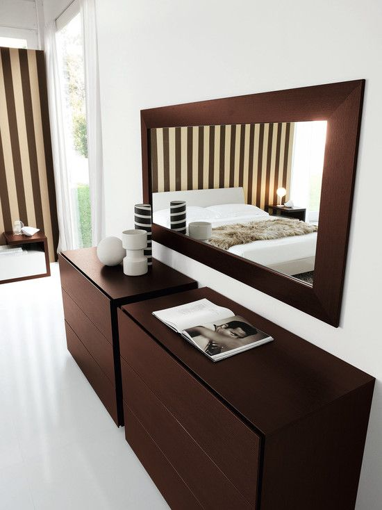 Cozy Small Dresser With Mirror: Contemporary Bedroom With