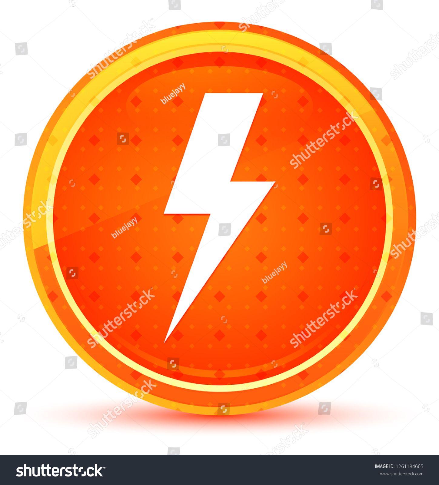 Lightning bolt icon isolated on natural orange round
