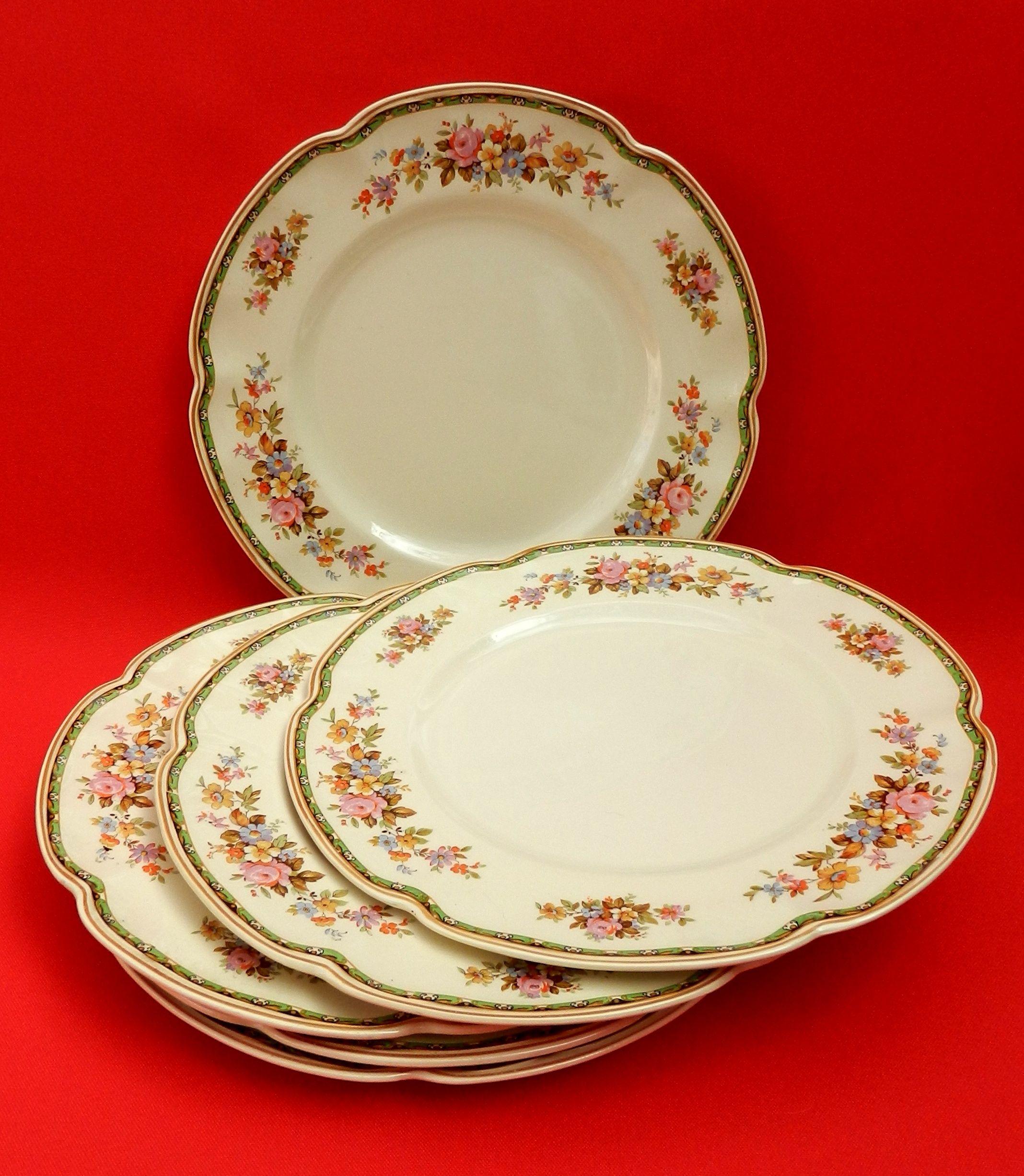 Victorian johnson bros england juego de seis platos playos en loza inglesa pintura art - Johnson brothers vajilla ...