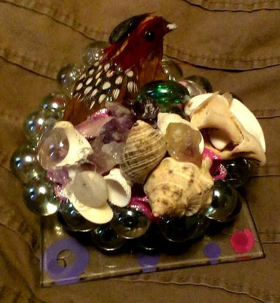 Marbles and Bird Paper Weight by SustainableJewellry on Etsy