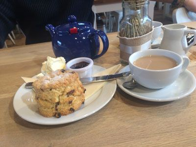 Afternoon tea with cream & jam at Back To The Garden in North Norfolk
