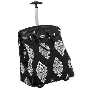 Black Damask Wheeled Tote Bag