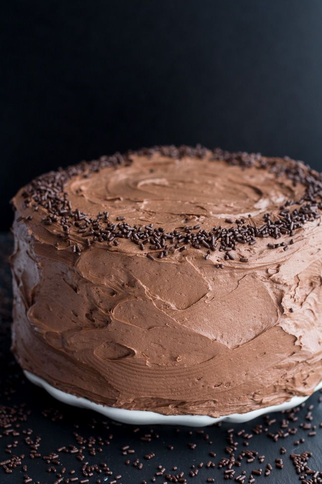 2 Layer Cake Simple Chocolate Birthday Cake With Whipped Chocolate