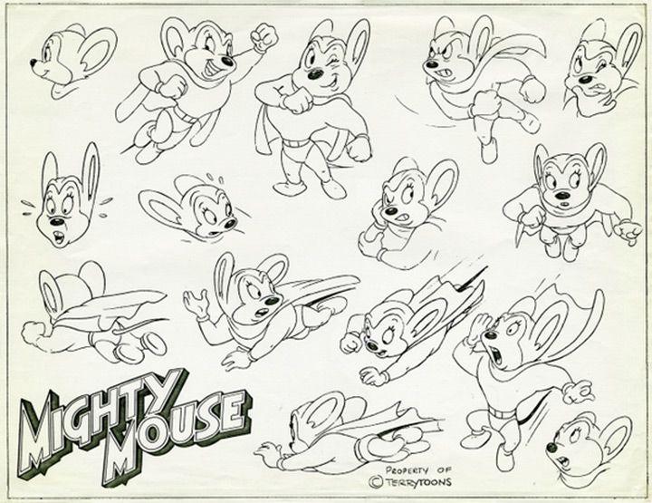 Mighty Mouse Model Sheet Cartoon Cartoon Art Styles Disney