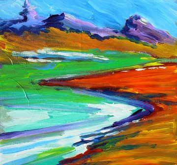 Image Result For Bright Color Landscape Painting Landscape Paintings Colorful Landscape Painting