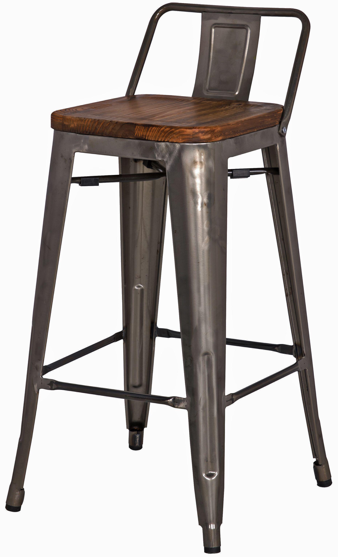 Metropolis Low Back Counter Stool Wood Seat Gunmetal Npd 17 X