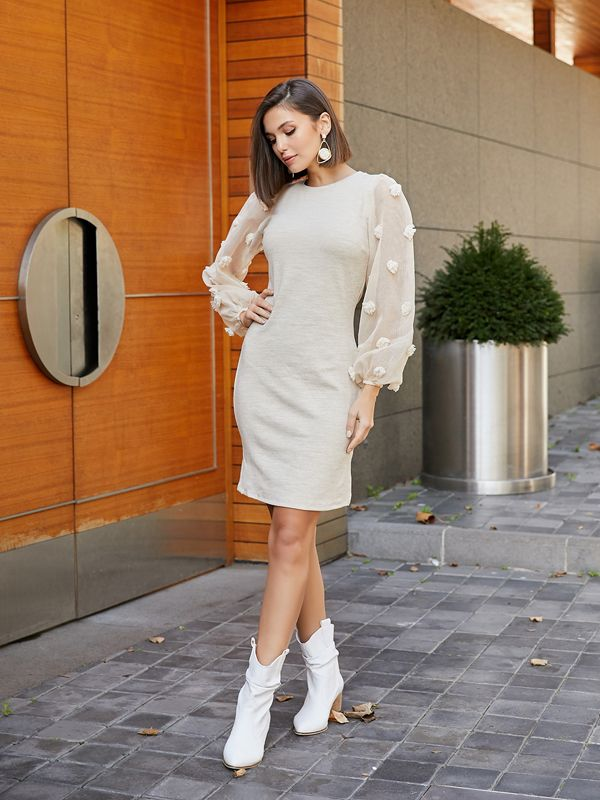 39k155 Kollari Tul Ponponlu Elbise Bej 2020 Elbise Elbiseler The Dress