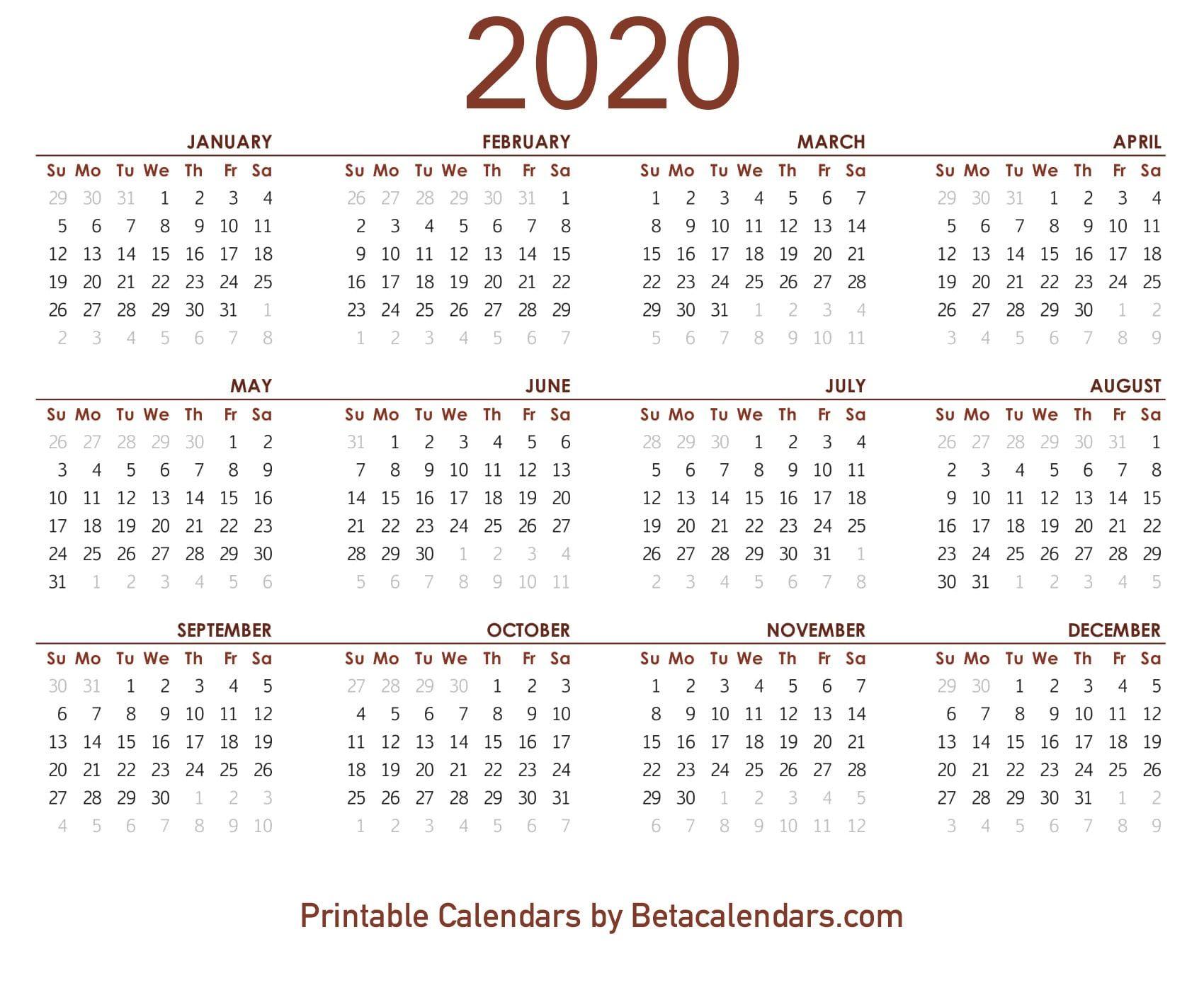 2020 Calendar Printable Printable Yearly Calendar Calendar