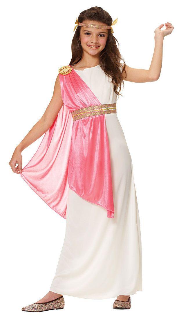 ROMAN EMPRESS ATHENA GREEK GODDESS TOGA CHILD KIDS GIRLS COSTUME WHITE PINK  | Athena costume, Roman costume, Goddess costume