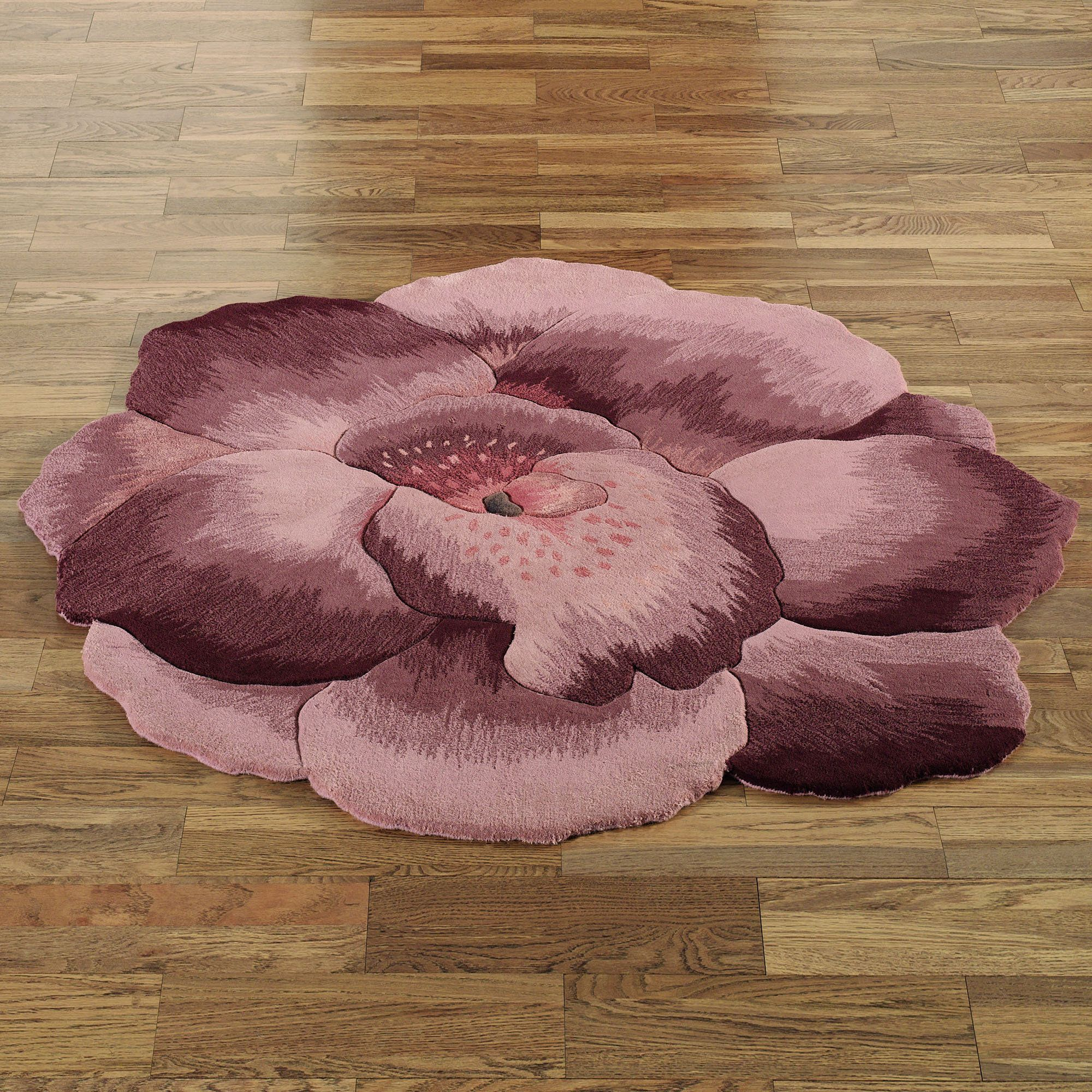 Very large bath rugs search - Pansy Flower Shaped Round Rugs