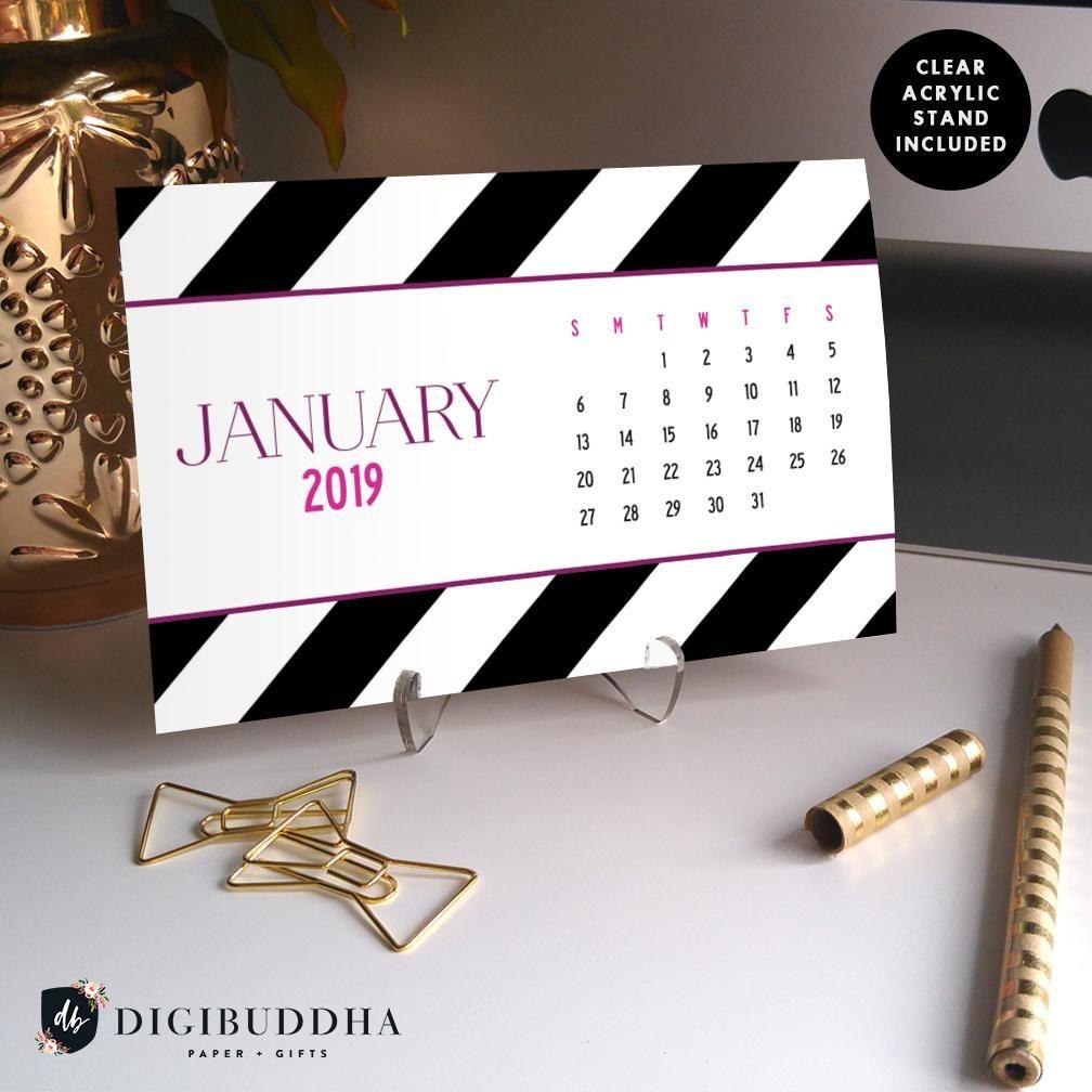 Contemporary Homeoffice Desk: 2019 Black And White Stripes Desk Calendar