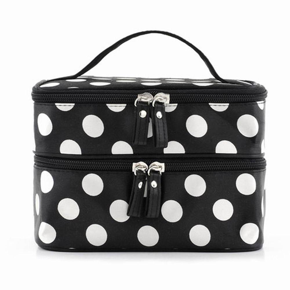 Double Layer Cosmetic Bag Black With White Dot Travel Toiletry Makeup Organizer Mirror Bonamart