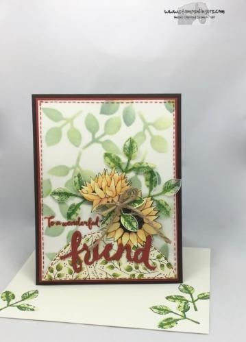 Stamps-N-Lingers. Sneak peek of the Painted Autumn DSP, Autumn Harvest stamp set and new Leaf Punch available in the 2017 Holiday Catalog on 1 Sept! Don't you love it?? For free instructions on how to make this card, please visit my blog at: https://stampsnlingers.com/2017/08/05/stampin-up-lovely-painted-autumn-harvest-sneak-peek/