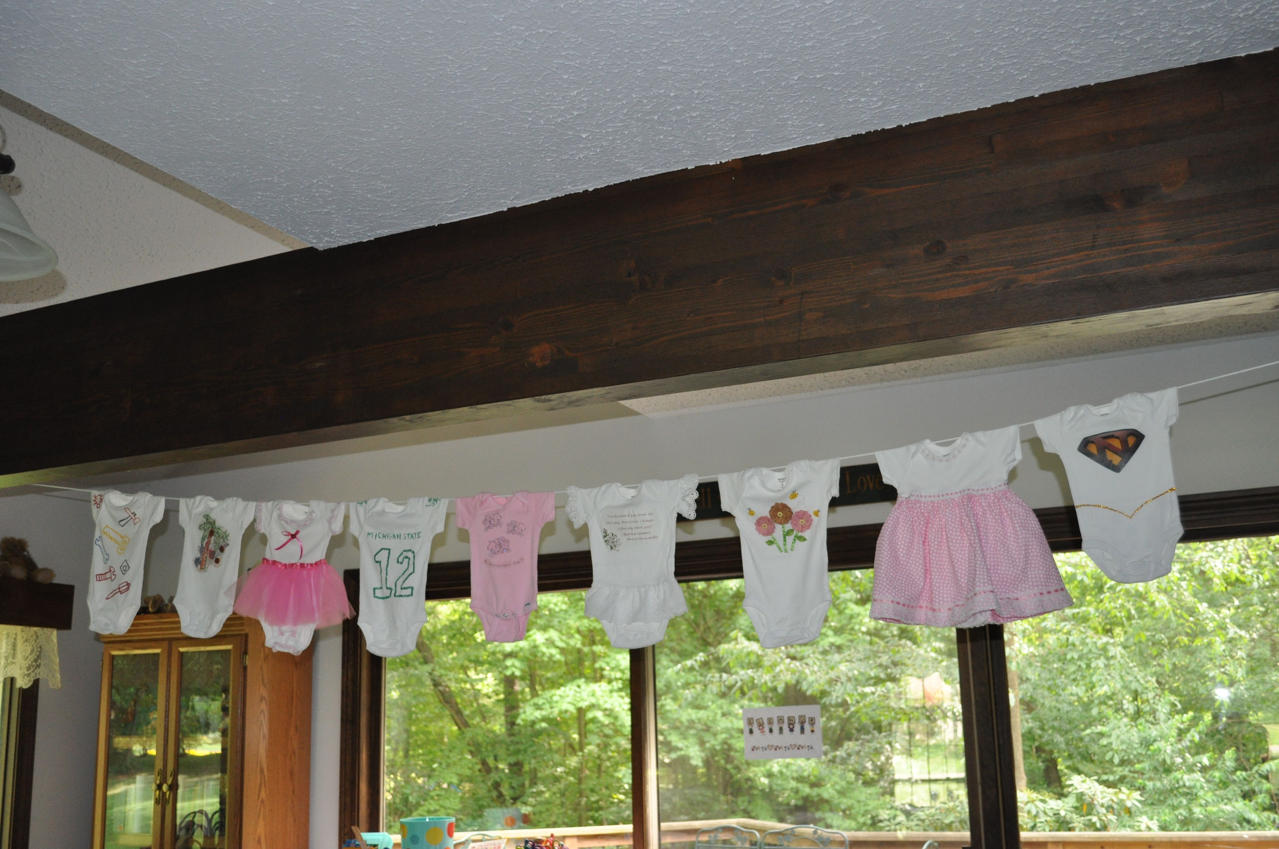 Window decoration for kindergarten  mail onesies for close friends and family to decorate before the