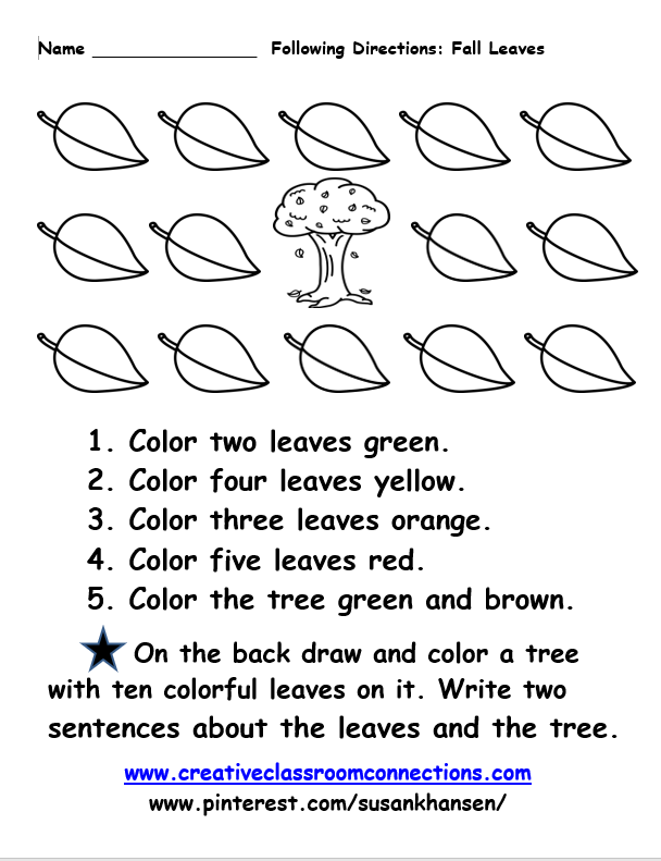 This free following directions worksheet features leaves, color ...
