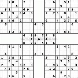 Printable Hard Sudoku Sheets | Samurai Sudoku: a difficult free puzzle. | Samurai Sudoku