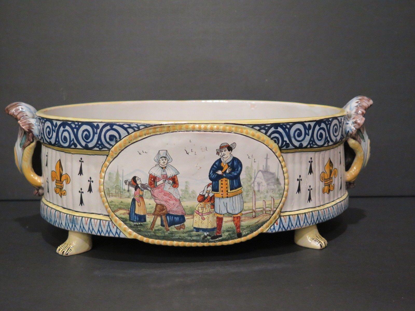 Antique Large Quimper Console Bowl Footed Toes Country Musical Fleur De Lis Quimper Fleur De Lis Bowl