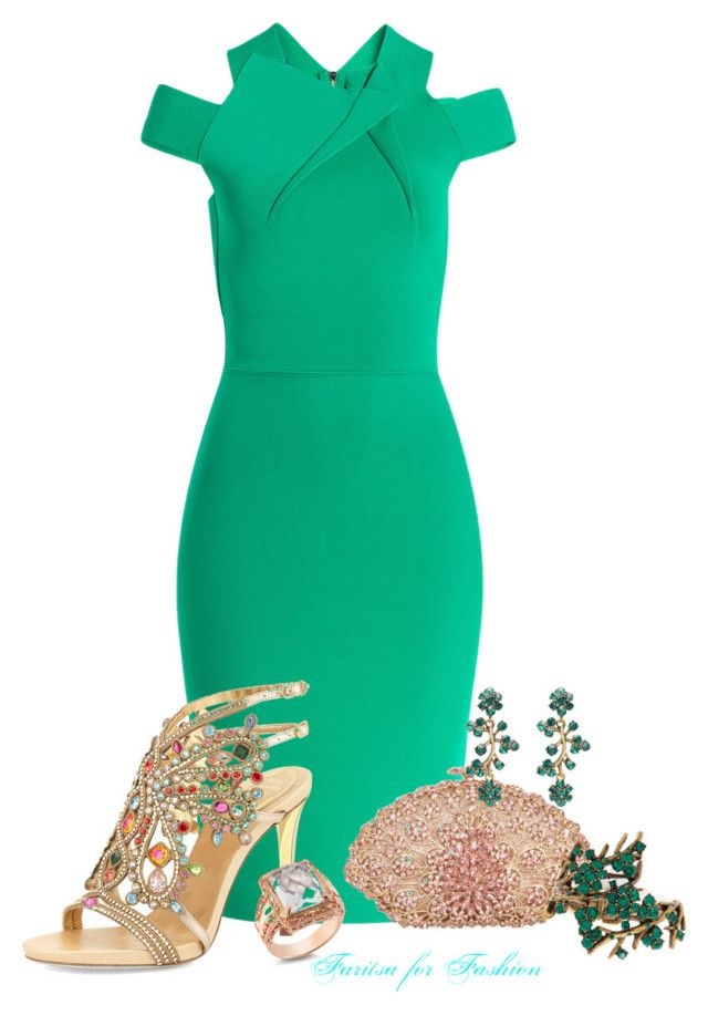 Crystal jade by faritsaforfashion on Polyvore featuring mode, Roland Mouret, René Caovilla, Oscar de la Renta and DeLatori