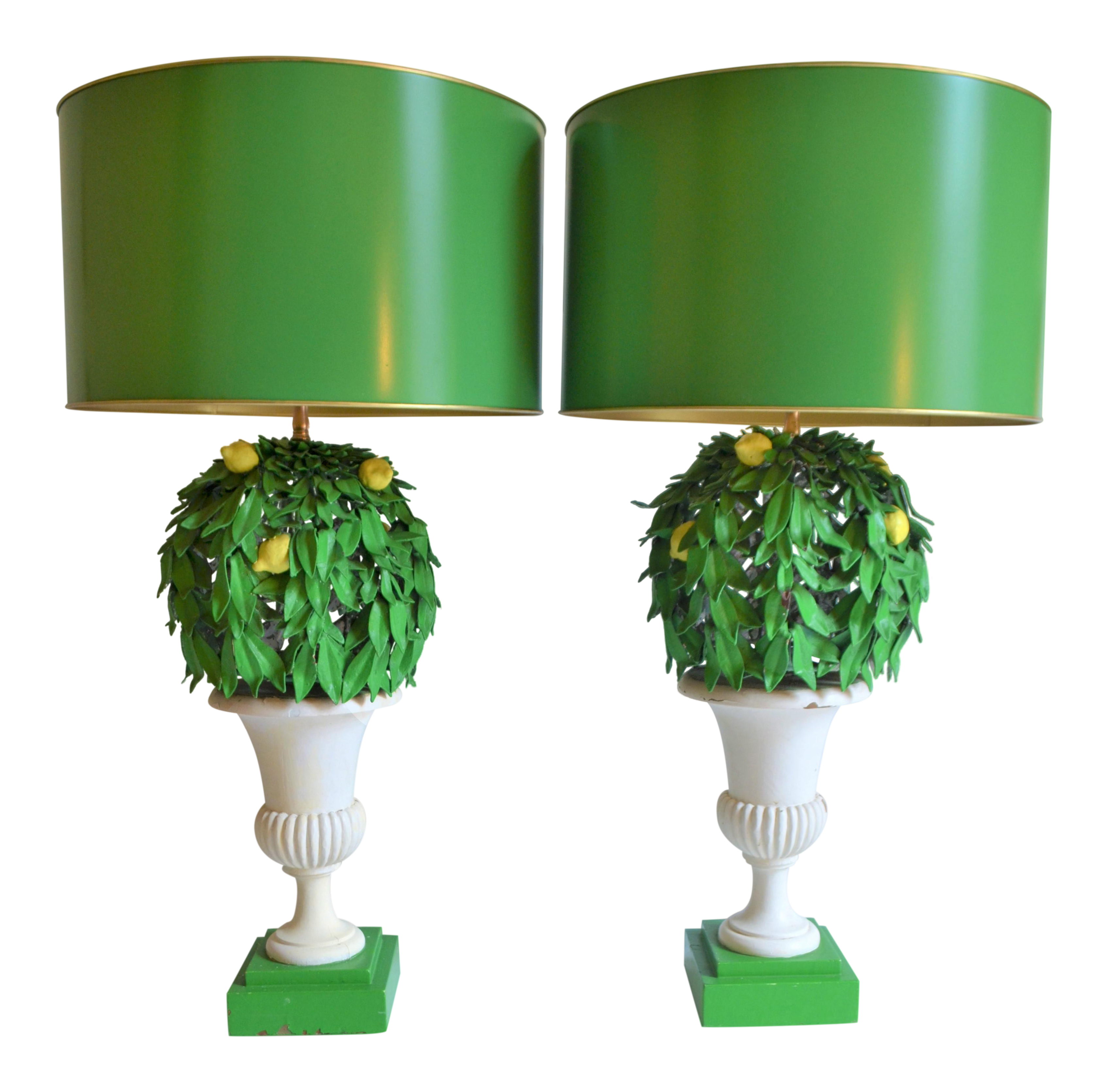 1970s Italian Lemon Tree Tole Topiary Lamps A Pair On Chairish Com In 2020 Lamp Lemon Decor Lemon Tree
