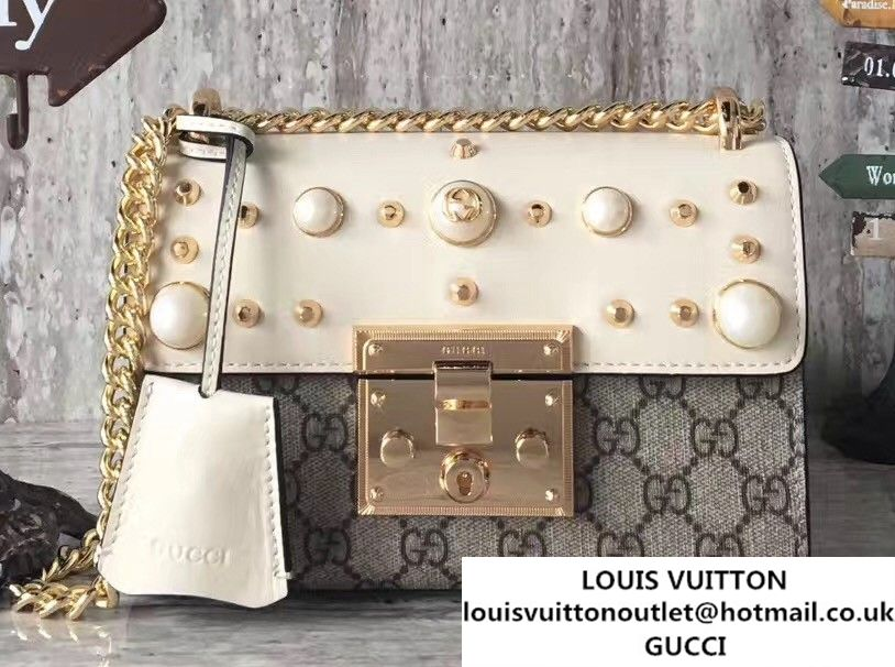 5d2e2cd5b26 Gucci Padlock Shoulder Small bag 432182 GG Supreme Pearl Studs White 2017