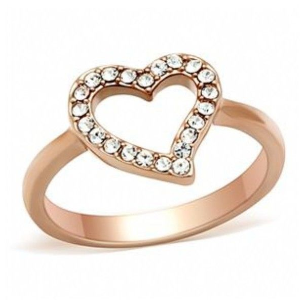 Natalie s Open Heart Cubic Zirconia Rose Gold Ring $25 ❤ liked