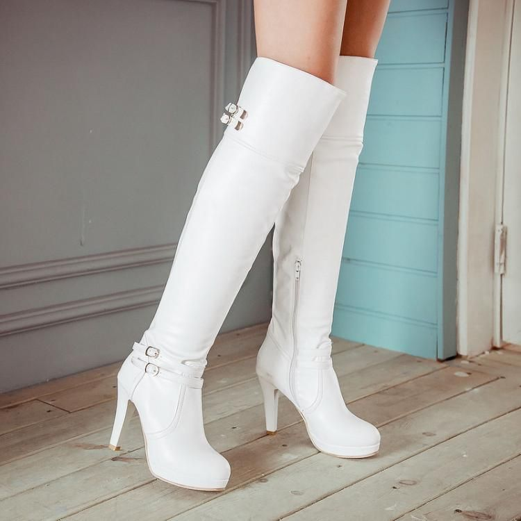 venta barata ee. estilo de moda zapatos de separación Resultado de imagen para botas blancas de tacon | Botas y ...