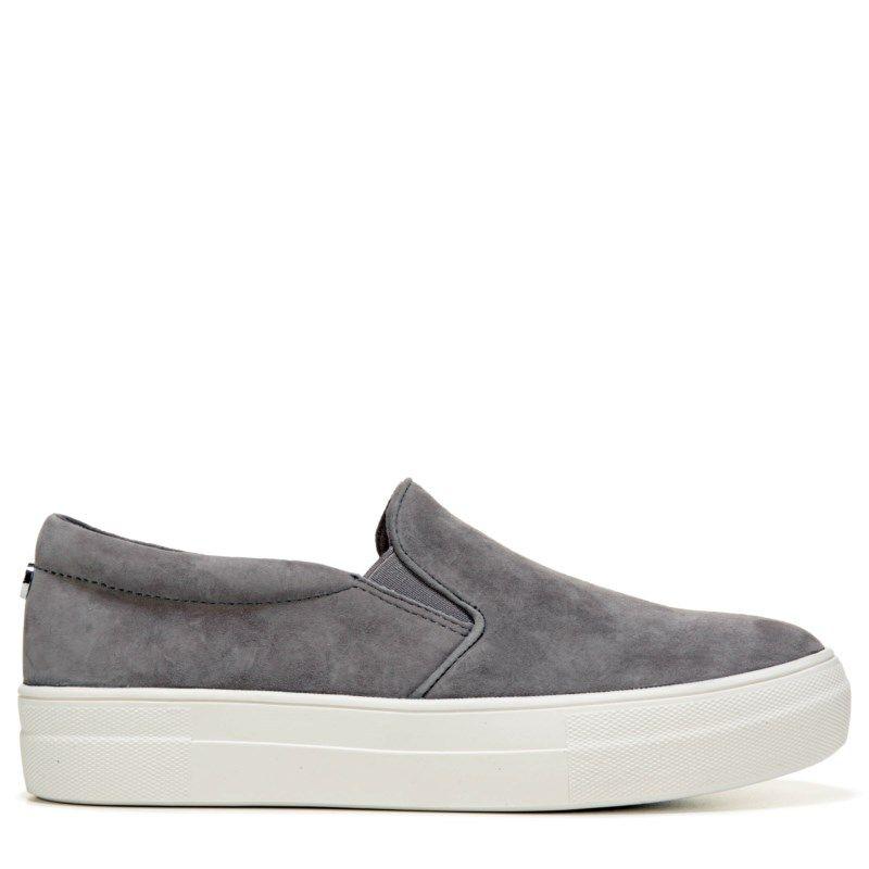 32cfe968393 Steve Madden Women s Gills Platform Slip On Sneakers (Grey Suede) - 11.0 M