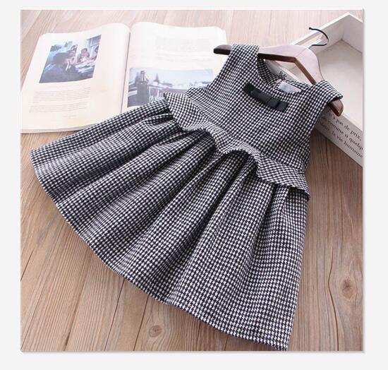 Winter baby girl party dresses for girls Plaid Dress For Girls Princess Dress sleeveless Bow toddler dress kids New Year Costume